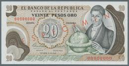 Colombia / Kolumbien: 20 Pesos Oro 1966 Specimen P. 409s, With Zero Serial Numbers And Specimen Over - Colombia