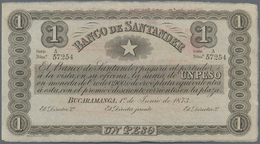 Colombia / Kolumbien: Banco De Santander 1 Peso 1873 Remainder With Revalidation 06.01.1900 On Back, - Colombia