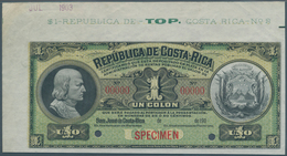 Costa Rica: 1 Colon ND(1905-06) SPECIMEN, P.142s With Hand Stamped Date July 1903 At Upper Part Of T - Costa Rica
