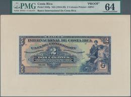 Costa Rica: Banco Internacional De Costa Rica 2 Colones ND(1924-29), P.184 Front And Back Proof On C - Costa Rica
