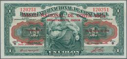 Costa Rica: Banco Nacional De Costa Rica 1 Colon 1943 Overprint On #166, P.190 In Perfect UNC Condit - Costa Rica