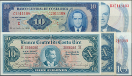 Costa Rica: Set Of 5 Banknotes Containing 2x 10 Colones 1967 P. 221c (XF+ To AUNC And VF), 10 Colone - Costa Rica