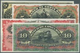 Costa Rica: Set Of 4 Notes Containing 5 Pesos 1899 Remainder P. S163 (UNC), 5 Colones ND Remainder P - Costa Rica