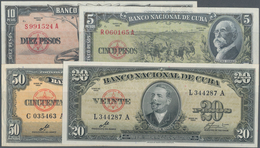 Cuba: Lot With 9 Banknotes 1 - 100 Pesos Series 1959 And 1960 Including 5, 10,20, 50 Pesos With Sign - Cuba