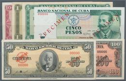 Cuba: Banco Nacional De Cuba Set With 6 Specimen Comprising 50 Pesos 1958 Specimen, 100 Pesos 1959 S - Cuba