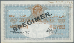 Cyprus / Zypern: 5 Shillings 1917 Specimen, P.7s, Small Hole At Upper Left, Pinholes At Upper Right, - Cyprus