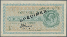 Cyprus / Zypern: 1 Shilling 1920 Specimen, P.14s, Just A Very Soft Horizontal Fold, Otherwise Perfec - Cyprus