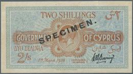 Cyprus / Zypern: 2 Shillings 1920 Specimen, P.15s, Tiny Tear At Upper Margin, Soft Horizontal Fold A - Cyprus