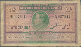 Cyprus / Zypern: Pair With 2 Shillings 1946 And 5 Shillings 1944, P.21, 22, Both In Almost Well Worn - Cyprus