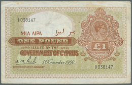 Cyprus / Zypern: 1 Pound 1950, P.24, Used Condition With Several Folds And Stains, Obviously Pressed - Cyprus