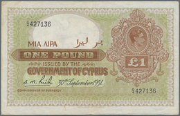 Cyprus / Zypern: 1 Pound September 30th 1951, P.24, Lightly Toned Paper And Some Folds, Obviously Pr - Cyprus