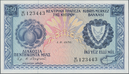 Cyprus / Zypern: Lot With 5 Banknotes 250 Mil 1976, 1 Pound 1974, 50 Cent 1983, 5 Pounds 1990 And 1 - Cyprus