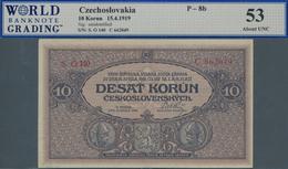 "Czechoslovakia / Tschechoslowakei: 10 Korun 1919, P.8b, Tiny Dint At Upper Left And ""tiny Margin Tea - Czechoslovakia"