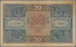 "Czechoslovakia / Tschechoslowakei: 20 Korun 1919, Series ""U"", P.9, Toned Paper, Small Margin Split A - Czechoslovakia"