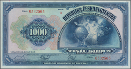 Czechoslovakia / Tschechoslowakei: 1000 Korun 1932, P.25a, Soft Vertical Bend At Center, Otherwise P - Czechoslovakia