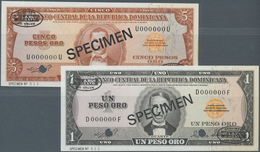 Dominican Republic / Dominikanische Republik: Set Of 2 Specimen Notes Containing 1 And 5 Pesos Oro 1 - Dominicana