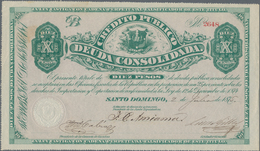 Dominican Republic / Dominikanische Republik: Pair With 5 And 10 Pesos Crédito Público 1875/76, P.S1 - Dominicana