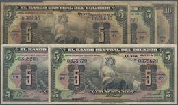 Ecuador: El Banco Central Del Ecuador 5 Sucres 1941, 1944, 1945, 1949 And 10 Sucres 1949, All With T - Ecuador