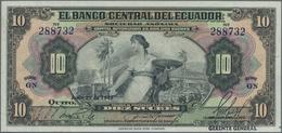 """Ecuador: El Banco Central Del Ecuador 10 Sucres 1949 With Text """"Capital Autorizado 20.000.000 Sucres - Ecuador"""