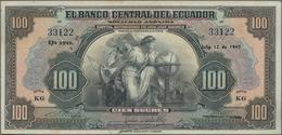 """Ecuador: El Banco Central Del Ecuador 100 Sucres 1947 With Text """"Capital Autorizado 20.000.000 Sucre - Ecuador"""