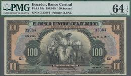 Ecuador: El Banco Central Del Ecuador 100 Sucres 1947, P.95c In UNC, PMG Graded 64 Choice Uncirculat - Ecuador