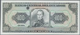Ecuador: Banco Central Del Ecuador 100 Sucres 1988-97 PROOF, P.123Ap, Vertical Fold At Left Center O - Ecuador