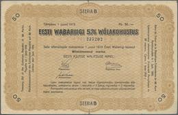 Estonia / Estland: Estonian Republic 5% Interest Debt Obligations 50 Marka Dated June 1st 1919, P.8, - Estonia