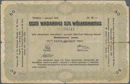 Estonia / Estland: Estonian Republic 5% Interest Debt Obligations 50 Marka Dated January 1st 1920, P - Estonia