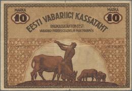 Estonia / Estland: Eesti Vabariigi 10 Marka 1919, P.46a, Small Border Tears And Tiny Hole At Center. - Estonia