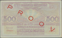 "Estonia / Estland: Pair With 500 Marka ND(1920-21) Specimen With Red Overprint ""PROOV"" P.49s F+ With - Estonia"