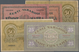 Estonia / Estland: Very Nice Set With 5 Banknotes 2 X 10 Marka 1922 P.53a,b In F-/F, 25 Marka 1923 P - Estonia