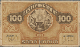 Estonia / Estland: Eesti Pangatäht 100 Marka 1921, Watermark Vertical Lines, P.56b, Still Nice With - Estonia