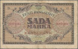 Estonia / Estland: Eesti Pangatäht 100 Marka 1922, P.58a, Stained Paper With A Few Tiny Border Tears - Estonia