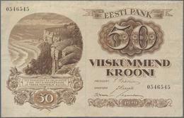 Estonia / Estland: Pair Of 20 Krooni 1932 P.64 In AUNC And 50 Krooni 1929 P.65 In F/F+. (2 Pcs.) - Estonia