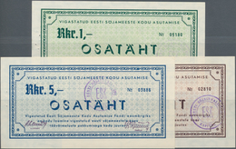 Estonia / Estland: Set With 3 Vouchers 1, 3 And 5 Rkr. OSATÄHT In UNC Condition. (3 Pcs.) - Estonia