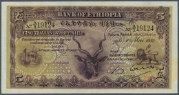 Ethiopia / Äthiopien: 5 Thalers 1932, P.7, Very Nice Looking Note With A Very Soft Vertical Bend, So - Ethiopia