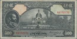 Ethiopia / Äthiopien: State Bank Of Ethiopia 500 Dollars ND(1945) With Signature Rozell, P.17c, High - Ethiopia