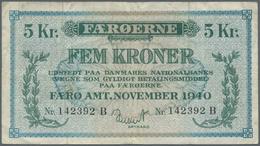 Faeroe Islands / Färöer: 5 Kroner 1940 P. 10, Several Vertical Folds But No Holes Or Tears, Paper St - Faroe Islands