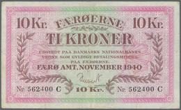 Faeroe Islands / Färöer: 10 Kroner 1940 P. 11a, Pressed, Traces Of Former Folds Especially Visible O - Faroe Islands