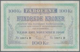 Faeroe Islands / Färöer: 100 Kroner 1940 P. 12, Rare High Denomination Banknote Of This Series, Ligh - Faroe Islands