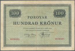 Faeroe Islands / Färöer: 100 Kronur ND(1952-53) P. 15a, Vertical And Horizontal Folds, No Holes Or T - Faroe Islands