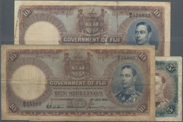 Fiji: Government Of Fiji 5 Shillings 1951 P.37 (F-), 10 Shillings 1940 P.38c (F-) And 10 Shillings 1 - Fiji