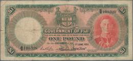 Fiji: 1 Pound June 1st 1951, P.40f, Small Border Tears And Tiny Holes At Center. Condition: F/F- - Fiji