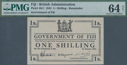 Fiji: Lot With 3 Banknotes 1 Shilling 1942 Remainder, P.48r1, PMG Graded 64 Choice Uncirculated NET - Fiji
