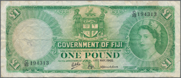 Fiji: Government Of Fiji 1 Pound 1965, P.53a, Small Graffiti At Left On Front And A Number Of Folds - Fiji