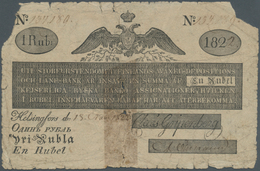 Finland / Finnland: 1 Ruble 1822 P. A27a, Stronger Used Note With Missing Parts At Upper Left And Ri - Finland