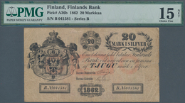 Finland / Finnland: 20 Mark I Silfver 1862, P.A36b, Extraordinary Rare Banknote In Still Good Condit - Finland