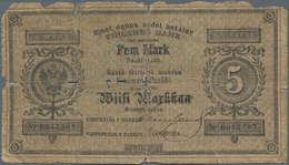 Finland / Finnland: 5 Markkaa 1878, P.A73a, Almost Well Worn With Margin Splits And Holes At Center. - Finland