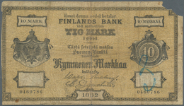 Finland / Finnland: 10 Markkaa 1882 P. A46a, Stronger Used With Strong Folds, Missing Part At Upper - Finland