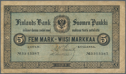 Finland / Finnland: 5 Markkaa 1886 P. A50, Used With Several Folds And Lightly Stained Paper, Tiny C - Finland